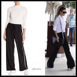 Pants - BLACK WIDE LEG ATHLELEISURE PANTS